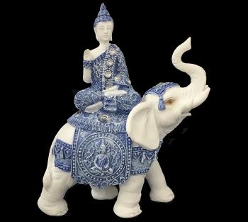 Budha Azul no Elefante - 20cm