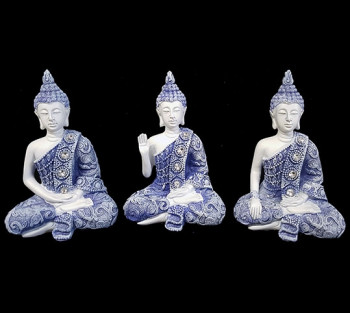 Kit 3 Budhas Azul - 11cm