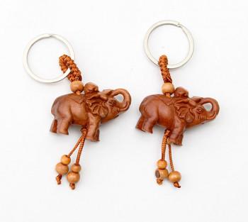 2 Chaveiros de Madeira Elefante - 8cm