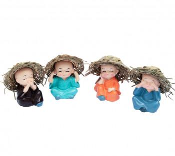 4 Monginhos da Sabedoria com Chapéu - 6cm