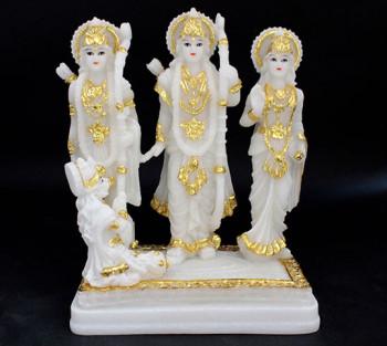 Sita, Rama, Lakshmana e Hanumam (branco) - 18cm
