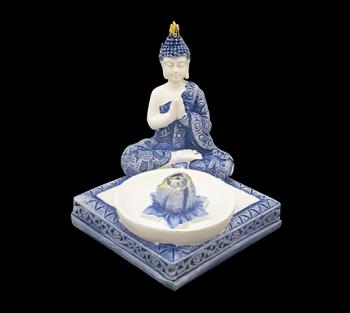 Incensário Budha Tailandes Azul - 8cm