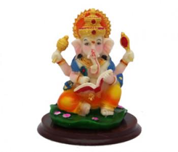 Ganesha Escrevendo Colorido em Resina - 11cm