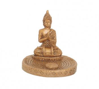 Incensário de Resina Budha Dourado