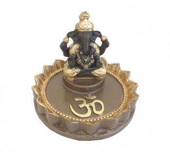 Incensario de Resina Ganesha no Lótus - 8cm