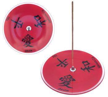 Incensario de vidro prato Kanji Vermelho