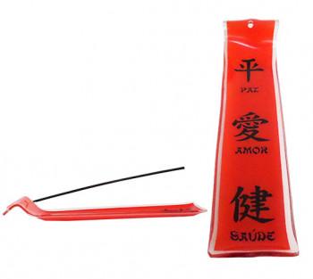 Incensário de vidro canaleta Feng-Shui