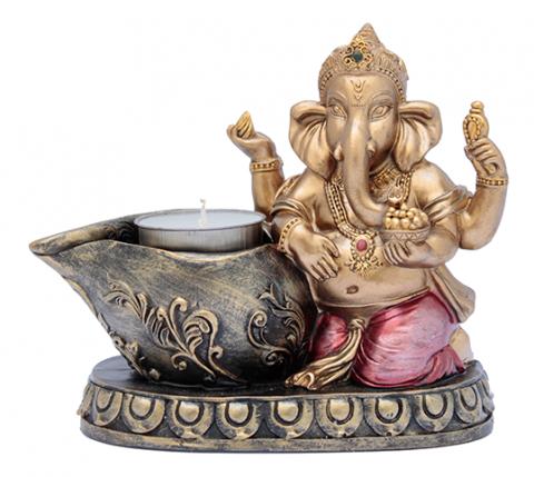 Ganesha c/ porta vela - 13x15cm